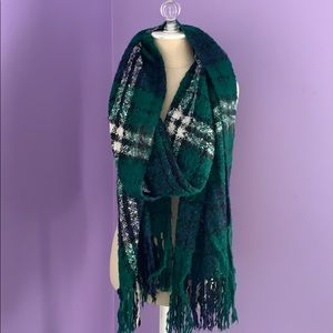 Navy and green plaid scarf.
